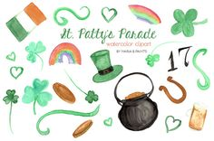 Watercolor Clip Art Happy St. Patrick's Day by MariaBPaintsClipArt
