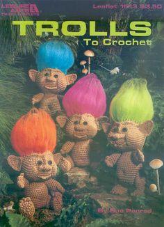Troll crochet pattern, vintage pattern, troll doll pattern, crochet pattern, crocheted trolls, amigurumi pattern, instant download, soft toy