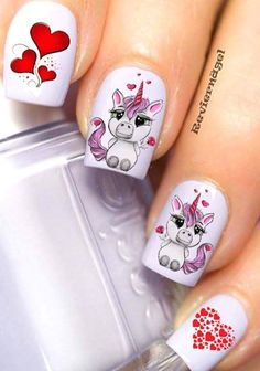 Cute and Easy Valentine Day Nails Acrylic Art Designs Ideas with Red Hearts Nail Art For Kids, Cool Nail Art, Love Nails, Pretty Nails, Nail Art Vernis, Unicorn Nail Art, Valentine's Day Nail Designs, Girls Nails, Rainbow Nails