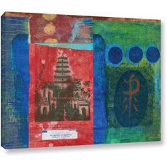 Elena Ray Good Fortune Pagoda Gallery-Wrapped Canvas Art, Size: 36 x 48, Blue