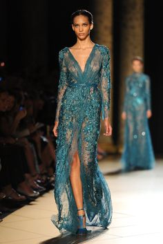 Elie Saab Couture Collection Fall 2012.love this sparkle, full length, teal/aqua gown.I'll take it..with a bra..lol.