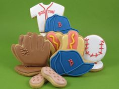 Decorated Sugar Cookies: Baseball Theme  | Ball, Mitt, Jersey, Cap, Hotdogs & Peanuts