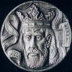 STEVE ADAMS HOBO NICKEL - KING ARTHUR - 1935p BUFFALO NICKEL