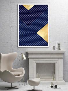 Navy & Gold Geometric Wall Art Print Navy Blue Artwork   Etsy Modern Artwork, Modern Prints, Contemporary Art, Large Art Prints, Wall Art Prints, Navy Gold, Navy Blue, Yellow Artwork, Art Deco Decor