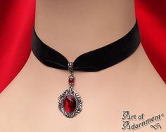 Gothic RED CRYSTAL BLACK VELVET CHOKER Necklace Victorian Style Pendant C29 #ArtofAdornment #Choker