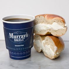 BREAKFAST IDEA: Today, start your day off the New York way with a traditional NYC bagel. Murray's is a big name in Manhattan, and you'll enjoy full-flavor, plump, golden-topped bagels you can only find in New York. Restaurants In Nyc, Bagels Nyc, Best Bagels, New York Essen, Coffee And Bagel, Village Coffee, Cheap Coffee Mugs, New York Bagel, Bagel Shop