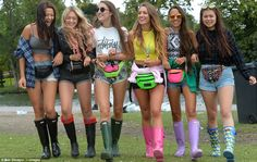 These girls dressed for warm weather, with short shorts and sunglasses, but didn't forget . Ladies Wellies, Enjoy The Sunshine, Rain Wear, These Girls, Hunter Boots, Warm Weather, Rain Boots, Women Wear, Girls Dresses