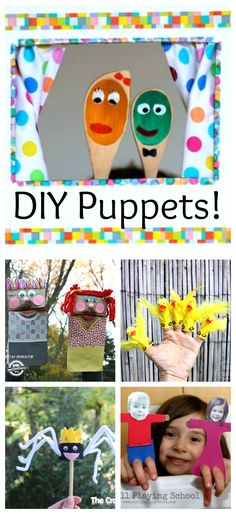 DIY Puppets - How Wee Learn - - These awesome DIY puppets are perfect for kids to make and great for imaginative play! Preschool Art Projects, Preschool Arts And Crafts, Projects For Kids, Creative Activities, Creative Play, Craft Activities For Kids, Drama Activities, Craft Kids, Learning Activities