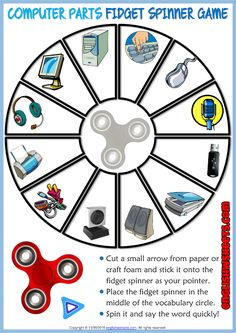 Computer Parts ESL Printable Fidget Spinner Game For Kids Kids Learning Computer, Computer Games For Kids, Games For Kids Classroom, Teaching Computers, Puzzles For Kids, Vocabulary Games For Kids, Vocabulary Worksheets, Fidget Spinner Games, Test For Kids