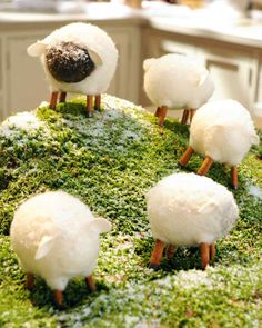 Affordable Christmas Crafts | Martha Stewart Living - Set a holiday scene of felted sheep and a cinnamon-stick fence for a fragrant holiday touch.