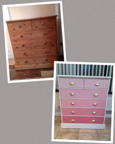 Ombré pink chest of drawers by The Vintage Rose