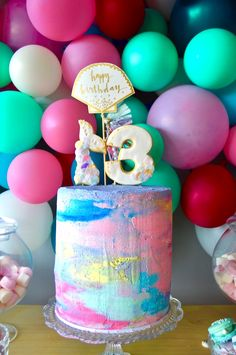 Splashing around for party ideas for your little girl? Kara's Party Ideas has the cutest Colorful Mermaid Birthday Party with awesome pics! Baby Birthday Cakes, Birthday Balloons, Birthday Fun, 1st Birthday Parties, Girl Parties, Birthday Ideas, Mermaid Party Decorations, Mermaid Parties, Fantasy Party