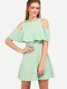 Mint Summer Green Half Sleeve Open Shoulder Ruffle Dress