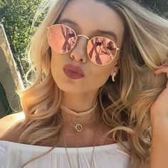 Luxury Round Sunglasses Women Men Brand Designer Vintage Retro Mirror Sun Glasses For Women Ladies Sunglass oculos de sol Cute Sunglasses, Oversized Sunglasses, Ray Ban Sunglasses, Mirrored Sunglasses, Vintage Sunglasses, Reflective Sunglasses, Summer Sunglasses, Festival Sunglasses, Polarized Sunglasses