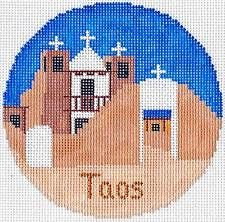 "TAOS, NEW MEXICO handpainted 4.25"" Needlepoint Canvas Ornament by Silver Needle"