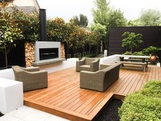 Outdoor Wood Fireplace, Outside Fireplace, Outdoor Fireplace Designs, Backyard Fireplace, Outdoor Fireplaces, Backyard Patio Designs, Modern Backyard, Diy Patio, Patio Ideas