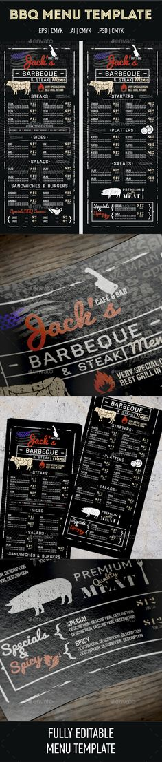 Jacks Cafe&Bar_BBQ Menu Template PSD, EPS, AI #design Download: http://graphicriver.net/item/jacks-cafebar_bbq-menu/13197113?ref=ksioks