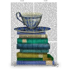 FabFunky Teacup & Books Print ($46) ❤ liked on Polyvore featuring home, home decor, wall art, backgrounds, fillers, art, blue, antique wall art, blue home decor and antique home decor