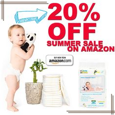 Hello, summer! We are on sale! Enjoy 20% off of your favorite bamboo diapers when you buy form Amazon now! :) Hurry! Limited time only!