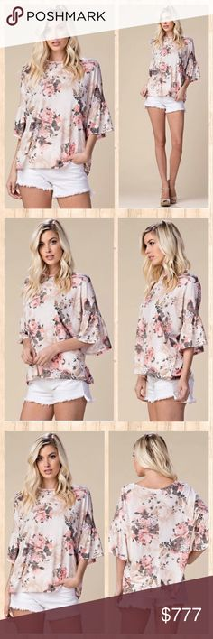🎉ARRIVING SOON!!🎉 Stunning floral top. S-M-L A knit top which features dropped shoulders, ruffled sleeves and an all over floral print. Material content is 65 poly, 35 rayon blend. Made in USA 🇺🇸 Tops Tunics