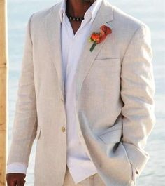 Light Beige Linen Suits Beach Wedding Tuxedos For Men Custom Made Linen Suit Tailor Made Groom Suit Cool Men's Linen Tuxedo Beach Wedding Groom Attire, Beach Attire, Tuxedo Wedding, Wedding Beach, Wedding Tuxedos, Beach Weddings, Beach Groom, Summer Wedding, Linen Wedding Suit