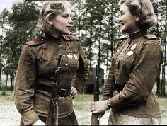 Snipers Sergeant Roza Shanina and Junior Sergeant Alexander Maksimovna Ekimov