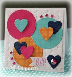 Great design with circles and hearts.  I could see this being easy to do with scraps!