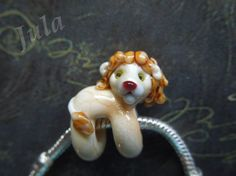 Lion bead Young lion lion bead lionet Pandora glass от Julaglass