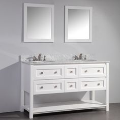 White Finish Marble Top 60-inch Double Sink Bathroom Vanity With Dual Matching…