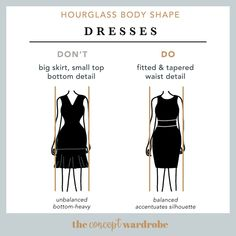 Hourglass Body Shape Dresses Do's and Dont's - the concept wardrobe Hourglass Figure Outfits, Hourglass Dress, Hourglass Fashion, Body Fitness, Shape Fitness, Workout Fitness, Hourglass Body Shape, Build A Wardrobe, Soft Summer