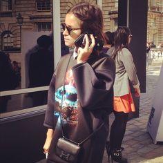 Street style star Mira Duma in a Balenciaga neoprene top #LFW