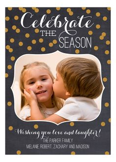 Celebrate the Season Gold Confetti Chalkboard Photo Card by Prints Charming at Polka Dot Design. Glitter Invitations, Christmas Invitations, Party Invitations, Christmas Chalkboard, Glitter Party, Gold Confetti, Christmas Photo Cards, Laughter, Seasons