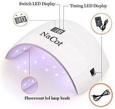 LED UV Nail Dryer Lamp - NaCot Professional 24W Portable Eye and Skin Friendly Quickly Dry Gel Nail Polish Curing Lamp Light with Automatic Sensor LCD Screen Time Display at Home and Salon