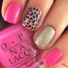 "OPI 'Shorts Story""  ....with a gold glitter & leopard accent nail.  <3"