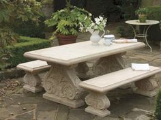 Best Stone Benches Chairs And Tables Images On Pinterest Stone - Stone picnic table set
