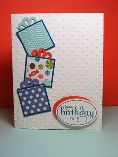 Birthday Card - Layered Square Birthday Boxes or Even Christmas Card With Mini Ribbon Bows - Stampin' Up! Making Greeting Cards, Greeting Cards Handmade, Handmade Birthday Cards, Happy Birthday Cards, Birthday Presents, Tarjetas Diy, Karten Diy, Bday Cards, Cricut Cards