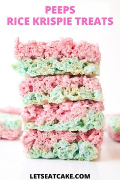 This Rice Krispie Treats Recipe takes the classic gooey marshmallow bars  to the next level with browned butter, vanilla, and Peeps! So perfect  for a quick Easter dessert or an easy Spring recipe. #easterideas  #easterrecipes #ricekrispietreats #springrecipes