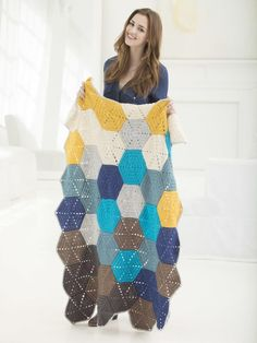 Stevenson's Treasure Island Crochet Blanket | Multicolored hexagons make up this great granny-style afghan