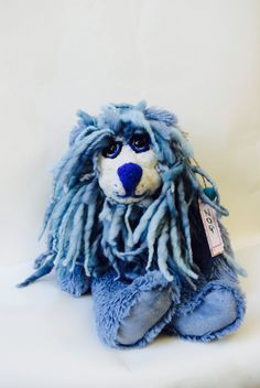 Teddy Bear: ZOG  is a  Blue Rasta  Collectible, Artist Bear with Felted Face by BearSouls on Etsy