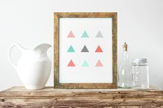 Abstract Wall Art, Triangles Wall Print, Coral And Mint, Nordic Wall Print, Gallery Wall Print, Unique Gift Ideas, Printable Art Poster by ShabbyShackStudio on Etsy