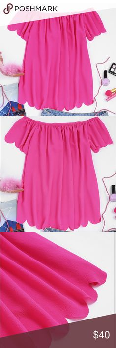 Hot Pink off the shoulder top to die for size M Brand new ! Will come with packaging !! Tops Blouses