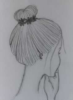 Mädchen mit Dutt und blumen im Haar frisur Girl with bun and flowers in hair. Girl Drawing Sketches, Cool Art Drawings, Pencil Art Drawings, Disney Drawings, Easy Drawings Of Girls, Flower Girl Hairstyles, Drawing People, Fashion Sketches, Flowers In Hair