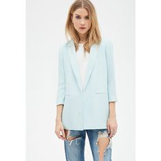 Forever 21 Textured Open-Front Blazer ($25) ❤ liked on Polyvore featuring outerwear, jackets, blazers, forever 21 blazer, three quarter sleeve blazer, blue jackets, textured jacket and open front blazer