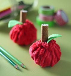 A+ Apples for Teacher | How to Sew - The cutest little DIY #sewing #project #tutorial- even a beginner can make these! Made with Cuddle Cakes Precuts in Very Vibrant Dimple http://www.shannonfabrics.com/kits-precuts/precuts/cuddle-cakes-br-very-vibrant-dimple