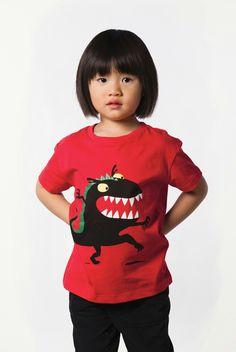 t-shirt enfant, monstre noir, coton bio