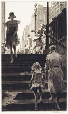 Martin Lewis Subway Steps drypoint on paper, x cm (plate). Collection of Smithsonian American Art Museum, Washington, DC, USA. Drypoint Etching, Art Et Illustration, Harlem Renaissance, Art Graphique, Wood Engraving, American Art, American History, Painting & Drawing, Art Museum