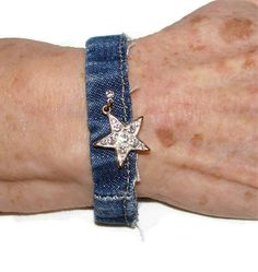 Denim Bracelet with Star Charm  OOAK by bagsbyhags45 on Etsy. I think this is so cute! Check out this shop for other cool denim jewelry & more!
