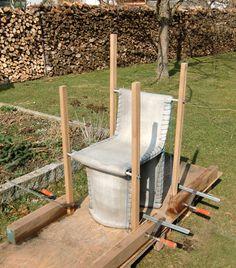 Industrial Concrete Sewn Furniture by Florian Schmid - DigsDigs Concrete Sculpture, Concrete Forms, Concrete Cement, Concrete Furniture, Concrete Design, Polished Concrete, Concrete Crafts, Concrete Projects, Chair Bench