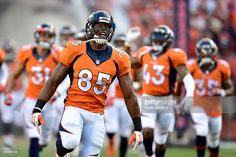Tight end Virgil Green #85 of the Denver Broncos runs out of the tunnel before taking on the Carolina Panthers at Sports Authority Field at Mile High on September 8, 2016 in Denver, Colorado.