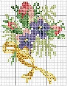 Moldes para ramos de flores en punto cruz